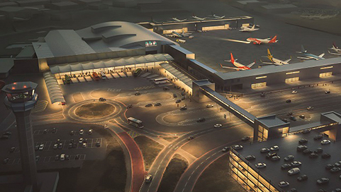 Computer image of Luton airport in the future